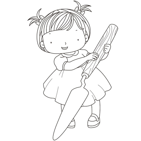 painter girl: coloring illustration of a girl with palette knife.