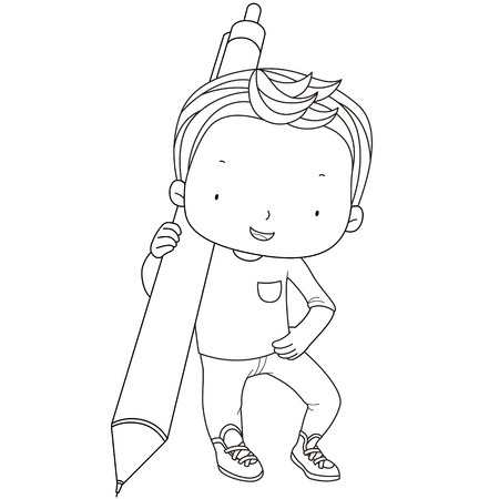 automatic: coloring illustration of a boy with automatic pencil.