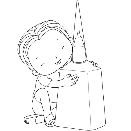 correction: coloring illustration of a boy with correction fluid.