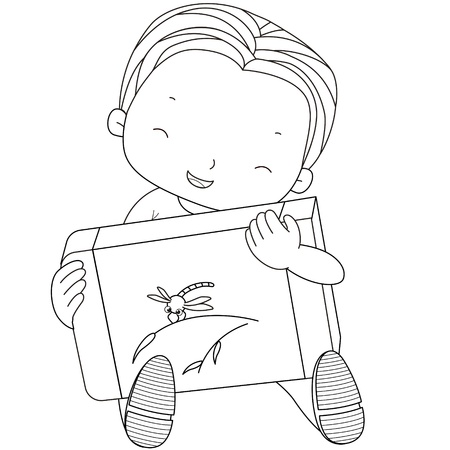 coloring illustration of a boy with eraser  Vector
