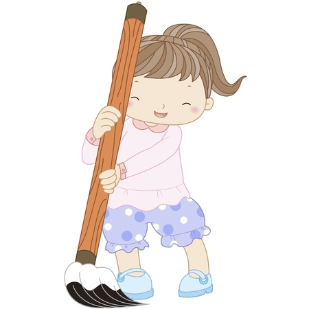 illustration of a girl with writing brush  Vector