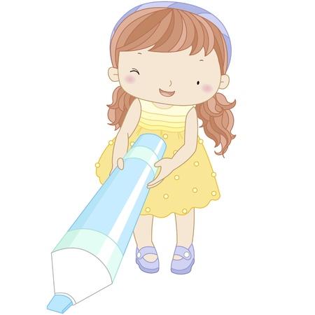 marker pen: illustration of a girl with marker pen
