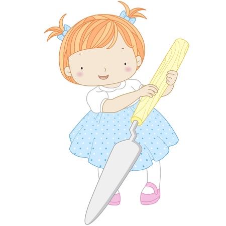 palette knife: illustration of a girl with palette knife