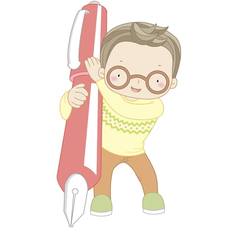 children school clip art: coloring illustration of a boy with pen
