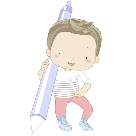 children school clip art: illustration of a boy with automatic pencil