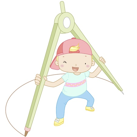 compasses: illustration of a boy with compasses  Illustration