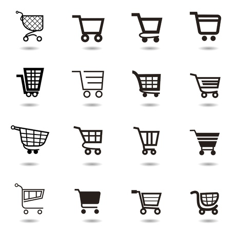 add to cart: set collection of vector shopping cart icons Illustration