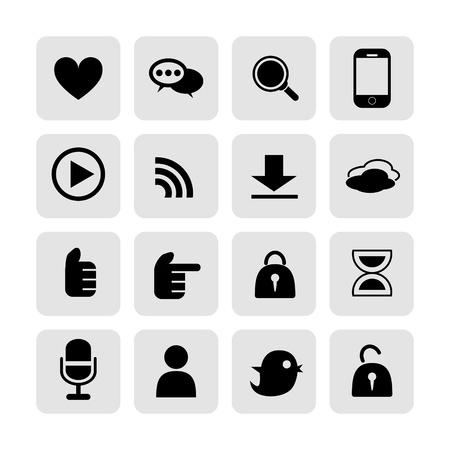 komunikacja: web, internet komunikacja zestaw ikon wektorowych Ilustracja