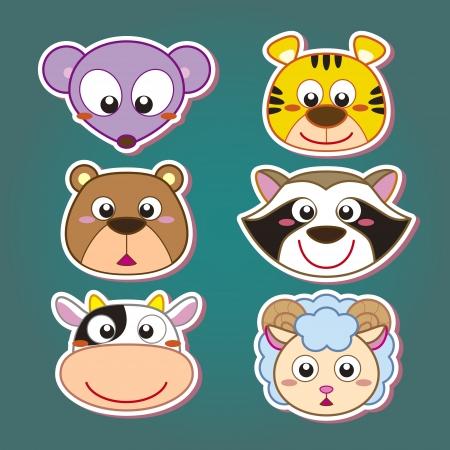 funny ox: six cute cartoon animal head icons