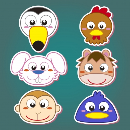 six cute cartoon animal head icons Stock Vector - 19830433