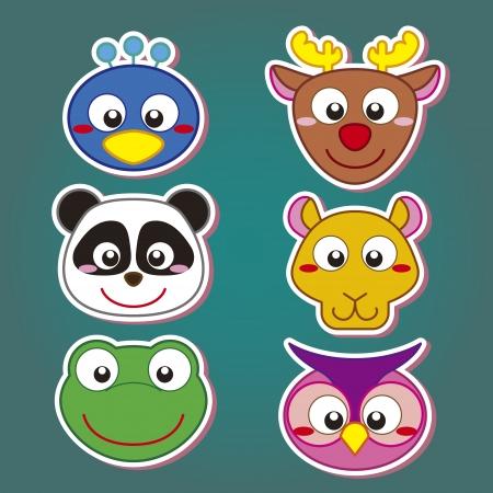 zoo amphibian: six cute cartoon animal head icons