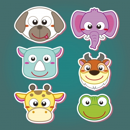 six cute cartoon animal head icons Stock Vector - 19830434