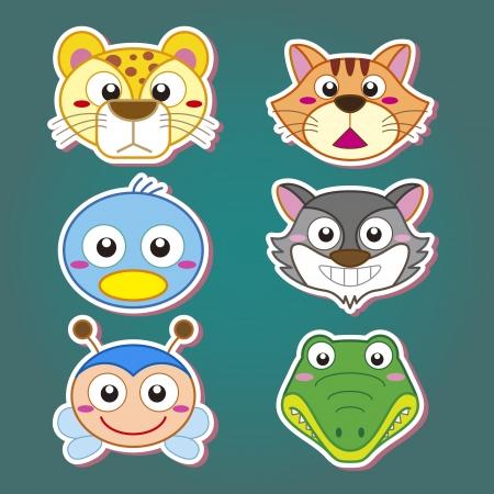 six cute cartoon animal head icons Stock Vector - 19830436