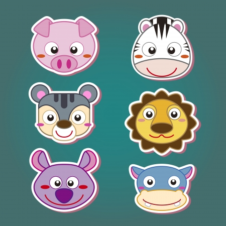 animal head: six cute cartoon animal head icons