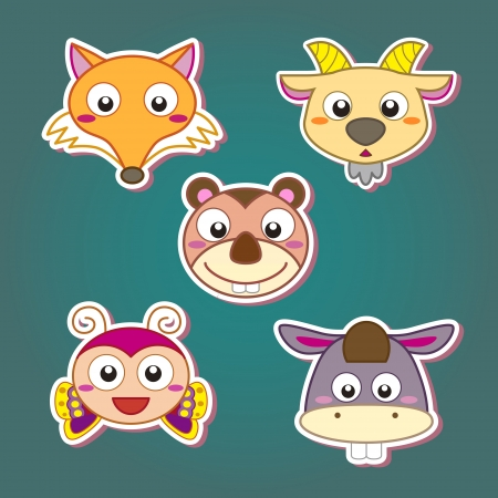 wild donkey: five cute cartoon animal head icons