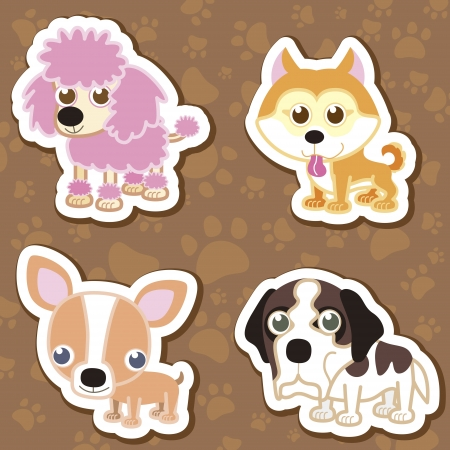 cartoon chihuahua: illustration of four cartoon cute dog collection.