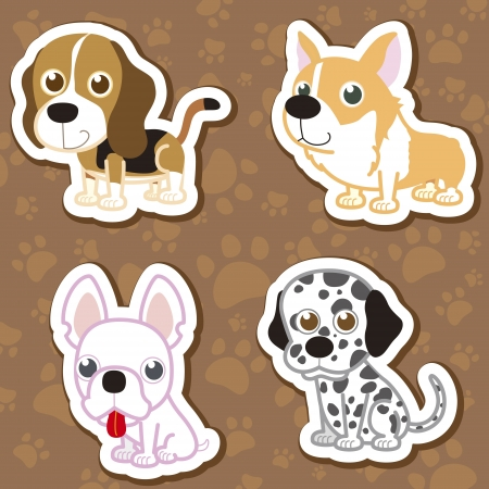 illustration of four cartoon cute dog collection. Vector