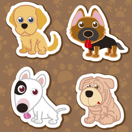 dog: illustration of four cartoon cute dog collection.
