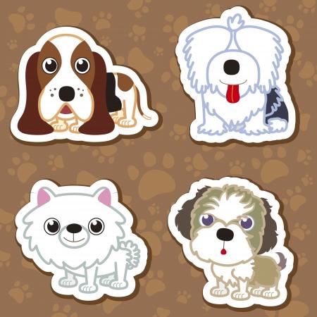 네 만화 귀여운 강아지 컬렉션의 그림.