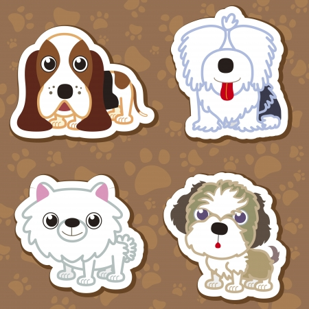 hound dog: illustration of four cartoon cute dog collection.