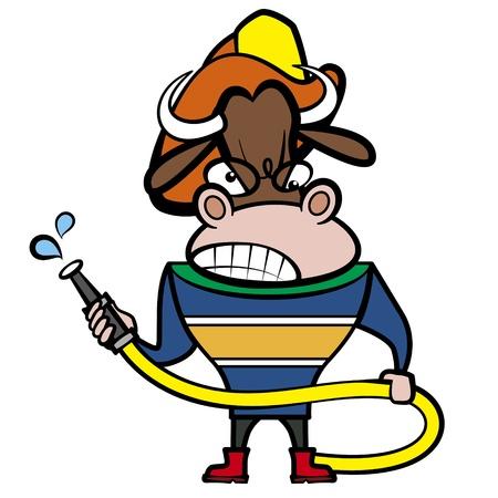 buey: dibujos animados toro bombero