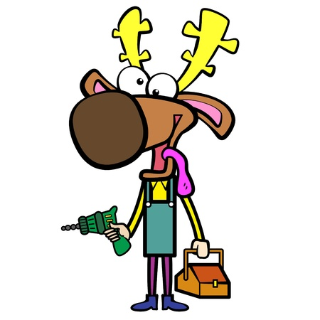 cartoon deer plumber with electric drill and toolbox  Vector