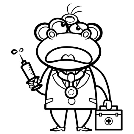 coloring cartoon monkey doctor with first aid kit and syringe  Vector