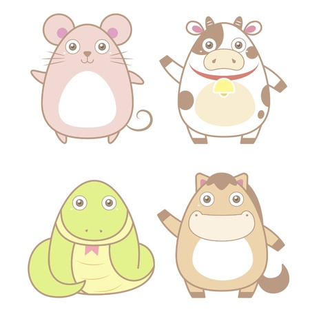 funny ox: illustration of cute animal icon collection  Illustration