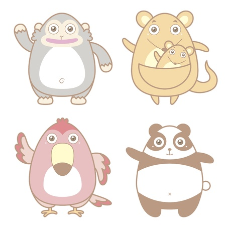illustration of cute animal icon collection  Vector