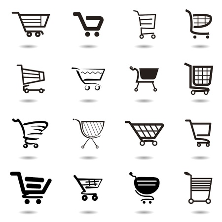 add to basket: set collection of vector shopping cart icons Illustration