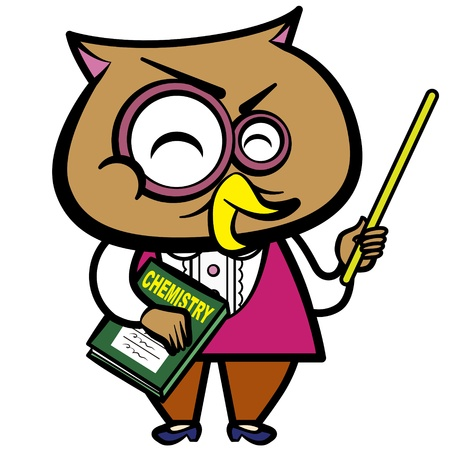 instructor: cartoon owl teacher with a pointer and book