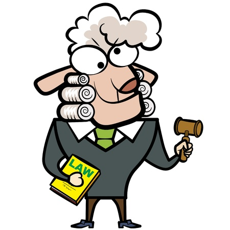 cartoon sheep judge with a gavel and law book  Vector