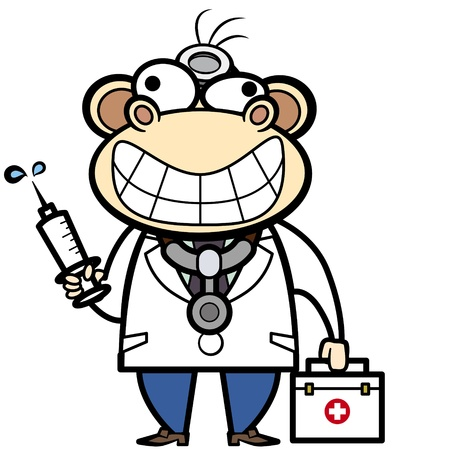 cartoon monkey doctor with first aid kit and syringe  Vector