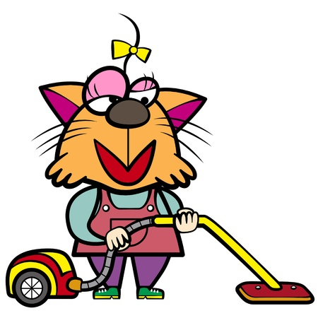 vacuum cleaner: cartoon cat housewife with a vacuum cleaner
