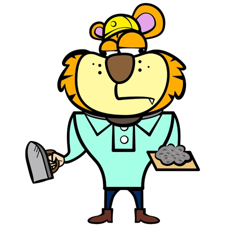 cartoon tiger builder with derby tool  Vector