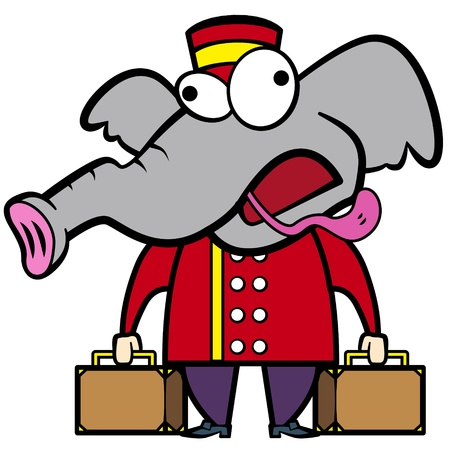 porter: cartoon elephant porter with suitcases  Illustration