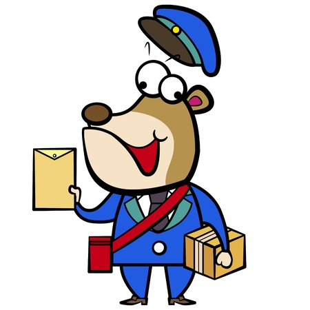 cartoon bear postman with letter and package  Vector