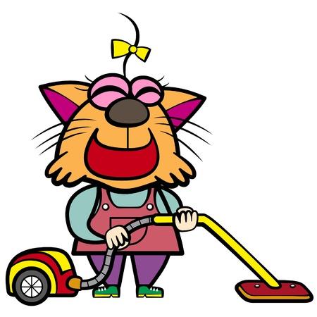 진공 청소기로 만화 고양이 주부 일러스트