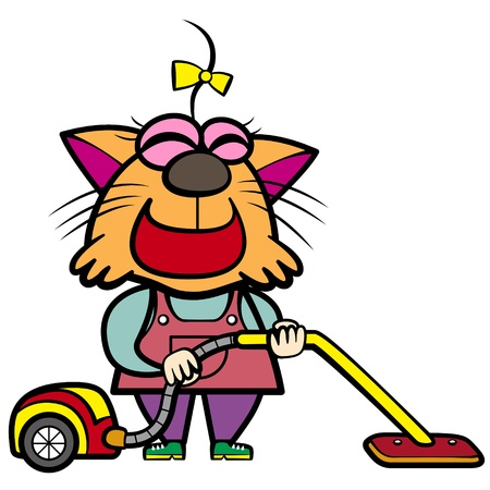cartoon cat housewife with a vacuum cleaner  Vector
