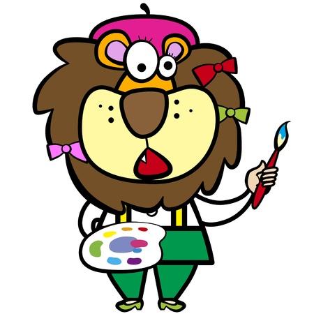 smirking: cartoon lion artist with paintbrush and palette