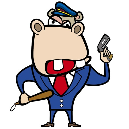 cartoon hippo police officer with gun  Vector