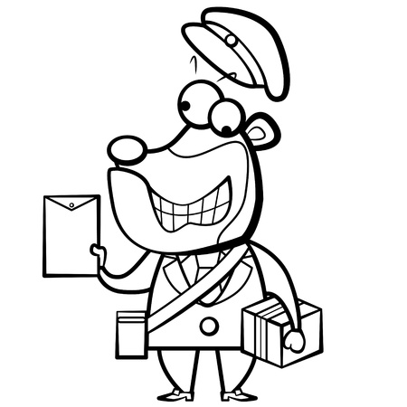coloring cartoon bear postman with letter and package. Vector