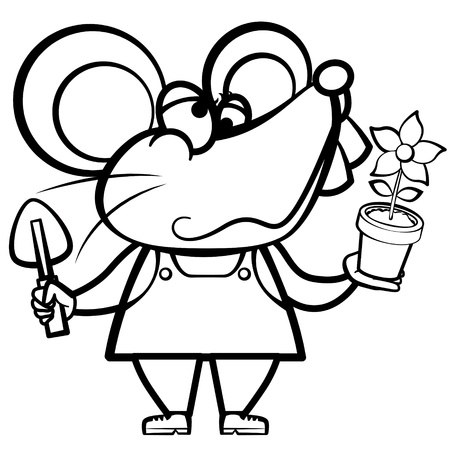 grinning: coloring cartoon mouse landscaper with a plant.
