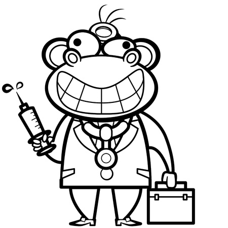coloring cartoon monkey doctor with first aid kit and syringe. Vector