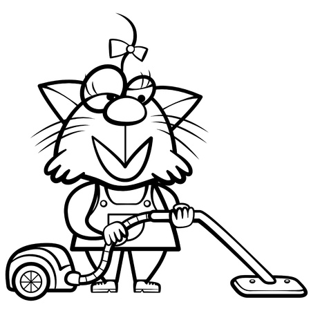 vacuum cleaner: coloring cartoon cat housewife with a vacuum cleaner.