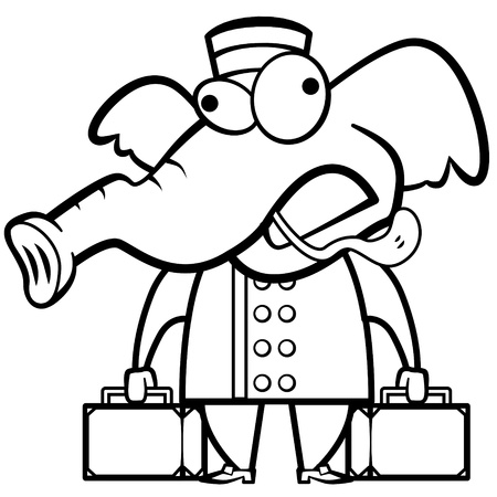 working animals: coloring cartoon elephant porter with suitcases. Illustration