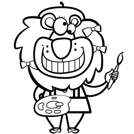 grinning: coloring cartoon lion artist with paintbrush and palette.