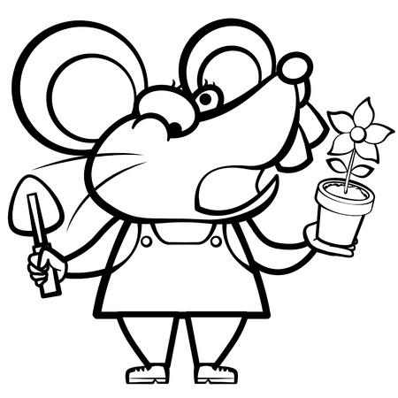 paysagiste: bande dessinée à colorier paysagiste de la souris avec une plante Illustration