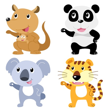 four cute animals with white background Stock Vector - 19860634