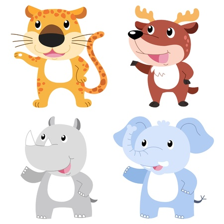 four cute animals with white background